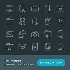 Modern Simple Set of folder, video, photos, files Vector outline Icons. Contains such Icons as  photo,  paper,  data, camera,  icon,  delete and more on dark background. Fully Editable. Pixel Perfect.