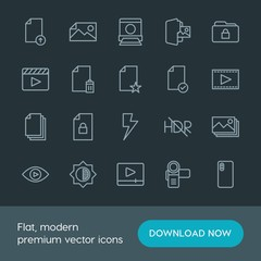 Modern Simple Set of folder, video, photos, files Vector outline Icons. Contains such Icons as security,  video, image, player, dark,  space and more on dark background. Fully Editable. Pixel Perfect.