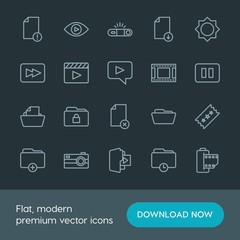 Modern Simple Set of folder, video, photos, files Vector outline Icons. Contains such Icons as  film,  view, video,  computer,  movie,  add and more on dark background. Fully Editable. Pixel Perfect.