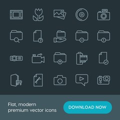 Modern Simple Set of folder, video, photos, files Vector outline Icons. Contains such Icons as microphone, image,  television,  element,  cd and more on dark background. Fully Editable. Pixel Perfect.