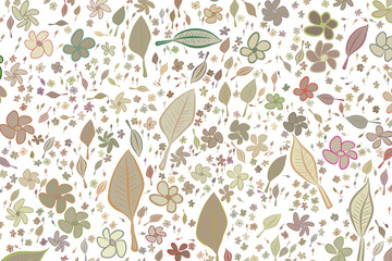Illustrations of leaves & flowers. Nature, wallpaper, messy & texture.