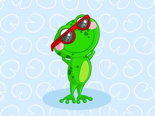 Comic Frosch mit Sonnenbrille