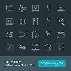 Modern Simple Set of folder, video, photos, files Vector outline Icons. Contains such Icons as dvd,  divider,  photography,  button,  shot and more on dark background. Fully Editable. Pixel Perfect.