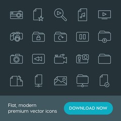 Modern Simple Set of folder, video, photos, files Vector outline Icons. Contains such Icons as  storage, play, technology, internet,  star and more on dark background. Fully Editable. Pixel Perfect.