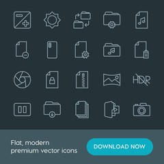 Modern Simple Set of folder, video, photos, files Vector outline Icons. Contains such Icons as  folder,  business,  media,  icon,  iso, hdr and more on dark background. Fully Editable. Pixel Perfect.