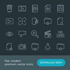 Modern Simple Set of folder, video, photos, files Vector outline Icons. Contains such Icons as  entertainment,  equipment,  cinema, movie and more on dark background. Fully Editable. Pixel Perfect.