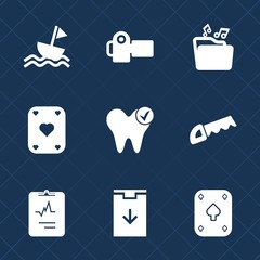 Premium set with fill icons. Such as cardiology, black, digital, equipment, photo, game, sailboat, health, format, music, boat, document, dentistry, casino, file, dentist, sail, saw, lens, camera, sea