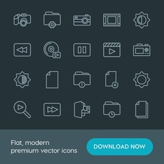 Modern Simple Set of folder, video, photos, files Vector outline Icons. Contains such Icons as arrow, folder,  cd, stop,  lens,  fashion and more on dark background. Fully Editable. Pixel Perfect.
