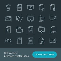 Modern Simple Set of folder, video, photos, files Vector outline Icons. Contains such Icons as  panoramic, folder,  objective,  data,  book and more on dark background. Fully Editable. Pixel Perfect.