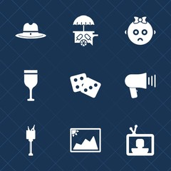 Premium set with fill icons. Such as screen, food, success, business, child, american, wild, image, vehicle, megaphone, glass, cream, dice, speaker, bucket, sweet, communication, photo, sheriff, west