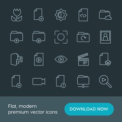 Modern Simple Set of folder, video, photos, files Vector outline Icons. Contains such Icons as add,  office,  internet,  production,  code and more on dark background. Fully Editable. Pixel Perfect.