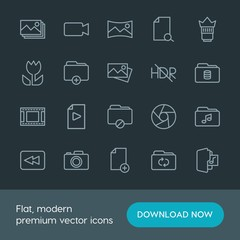 Modern Simple Set of folder, video, photos, files Vector outline Icons. Contains such Icons as  new,  capture, hdr,  panoramic,  digital and more on dark background. Fully Editable. Pixel Perfect.