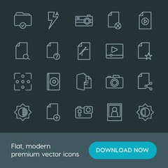 Modern Simple Set of folder, video, photos, files Vector outline Icons. Contains such Icons as  secret,  background,  illustration, file and more on dark background. Fully Editable. Pixel Perfect.