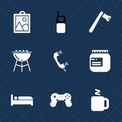 Premium set with fill icons. Such as cup, joystick, travel, picture, sign, construction, tool, telephone, barbecue, grill, jar, building, game, hammer, phone, mobile, bed, jam, work, glass, camera