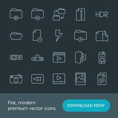 Modern Simple Set of folder, video, photos, files Vector outline Icons. Contains such Icons as  folder,  file, paper,  travel,  open, arrow and more on dark background. Fully Editable. Pixel Perfect.