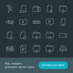 Modern Simple Set of folder, video, photos, files Vector outline Icons. Contains such Icons as  digital, video,  folder,  computer,  rotate and more on dark background. Fully Editable. Pixel Perfect.