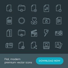 Modern Simple Set of folder, video, photos, files Vector outline Icons. Contains such Icons as camera,  vector, video,  folder,  sign,  sky and more on dark background. Fully Editable. Pixel Perfect.