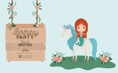 mermaid with unicorn and wooden label invitation card vector illustration