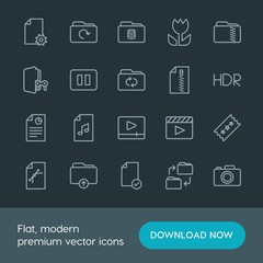 Modern Simple Set of folder, video, photos, files Vector outline Icons. Contains such Icons as hdr,  cinema,  film,  graphic,  set,  file and more on dark background. Fully Editable. Pixel Perfect.