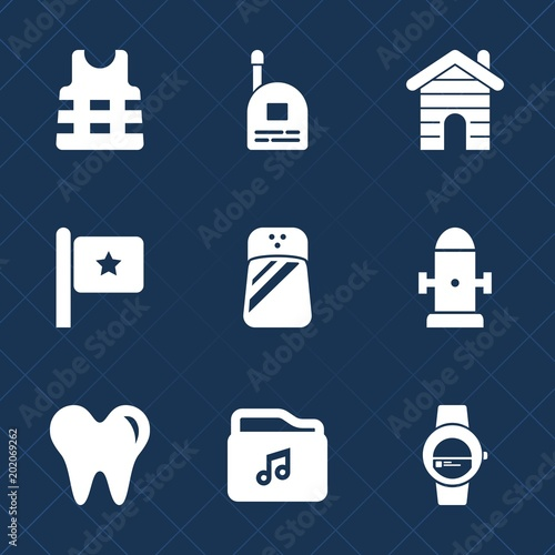 Premium set with fill icons  Such as rescue, time, house, talkie