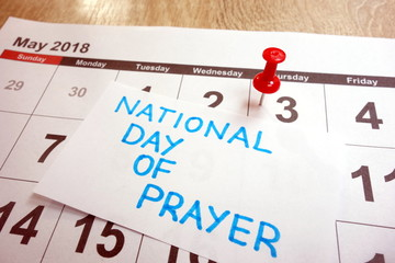 National day of prayer date marked on calendar - thursday, 3 may 2018