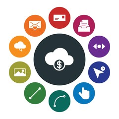 cloud and networking, cursors, design, email Infographic Colorful fill Icons Set. Contains such Icons as  web, file,  frame, money,  line,  currency,  storage and more. Fully Editable. Pixel Perfect