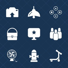 Premium set with fill icons. Such as bowling, scooter, department, computer, bulb, electric, web, star, safety, speed, fun, fashion, fan, photo, lamp, game, hydrant, power, gaming, sport, fire, play