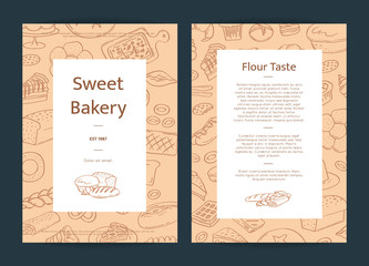 Vector card template illustration with hand drawn doodle bakery elements