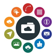 cloud and networking, cursors, design, email Infographic Colorful fill Icons Set. Contains such Icons as  mouse,  hand,  internet,  brush,  isolated,  gridline and more. Fully Editable. Pixel Perfect