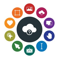 cloud and networking, cursors, design, email Infographic Colorful fill Icons Set. Contains such Icons as  photo, pointer,  finger, technology,  responsive, send and more. Fully Editable. Pixel Perfect