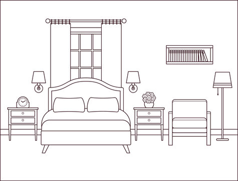 Bedroom interior. Hotel room with bed and window. Vector. Outline illustration. Retro house in flat design. Vintage apartment. Linear contour background. Coloring page. Home space sketch in line art.