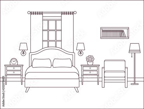 u0026quot bedroom interior  hotel room with bed and window  vector