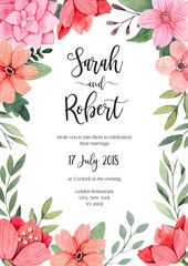 Hand drawn watercolor illustration. Botanical rectangular wedding invitation with green branches, flowers and leaves. Summer. Floral Design elements. Perfect for invitations, cards, prints, posters