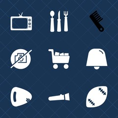 Premium set with fill icons. Such as camera, light, television, meal, dinner, female, lamp, stadium, media, beauty, tv, fork, commerce, spoon, guitar, knife, picture, torch, brush, white, musical, no