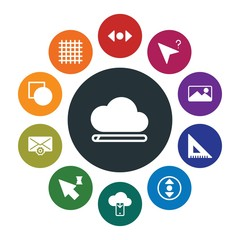 cloud and networking, cursors, design, email Infographic Colorful fill Icons Set. Contains such Icons as  ruler,  scroll,  tool,  web,  email,  mouse,  sign and more. Fully Editable. Pixel Perfect