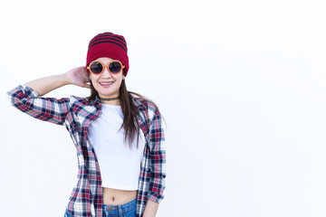 Portrait of beautiful asian hipster girl on white background,Lifestyle of modern woman,Thailand happy woman concept