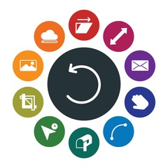 cloud and networking, cursors, design, email Infographic Colorful fill Icons Set. Contains such Icons as pointer,  frame,  equipment,  web,  symbol, abstract and more. Fully Editable. Pixel Perfect