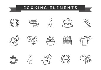 Set of cooking element. Line icons to cook.