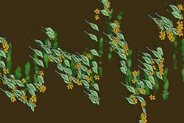 Color leaves & flowers illustrations background, hand drawn. Cartoon, surface, drawing & template.