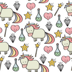 doodle seamless pattern with unicorns and other fantasy magical elements