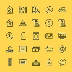 Modern Simple Set of business, money, buildings, education Vector outline Icons. Contains such Icons as  usd, business,  symbol,  muslim and more on yellow background. Fully Editable. Pixel Perfect.