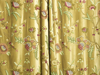 Gold floral pattern curtain detail