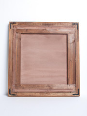 Old wood picture frame on white background