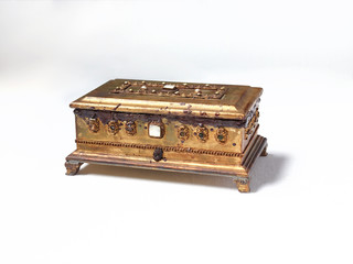 Antique jewelry box on white background