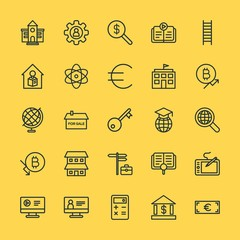 Modern Simple Set of business, money, buildings, education Vector outline Icons. Contains such Icons as  education,  vector,  people,  web and more on yellow background. Fully Editable. Pixel Perfect.