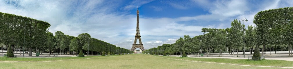 Acrylic Prints Eiffel Tower Amazing wide panorama of Champs de Mars and Eiffel tower in paris, no people