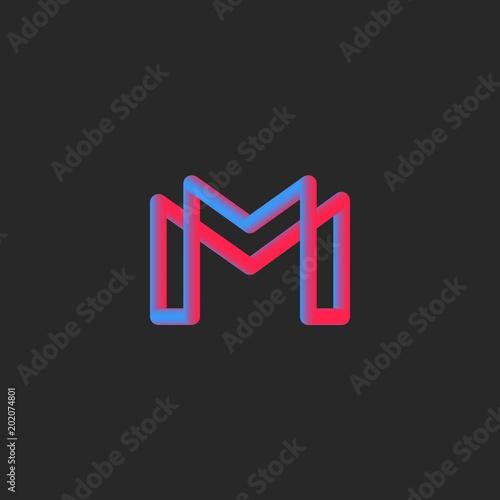 Letter M Logo Monogram 3d Gradient Color Transition Typography Minimal Style Vibrant Design Element