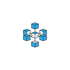 Logo blockchain technology connected isometric geometric cubes blocks shape line icon. Cryptocurrency data icon design. Innovation tech business sign.