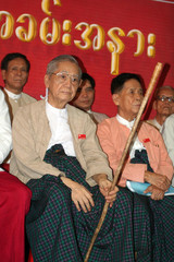 National League for Democracy secretary Lwin and Chairman Aung Shwe attend a ceremony to mark the 18th anniversary of the party?s founding at the party headquarters in Yangon
