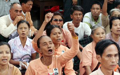 Members of NLD shout slogans calling for release of Aung San Suu Kyi in Yangon
